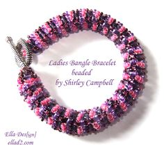 Ladies bangle bracelet beaded by Shirley Campell