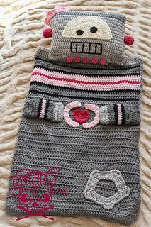 Robot Sleeping bag Blanket Pillow by Briana K Crochet, pattern for purchase