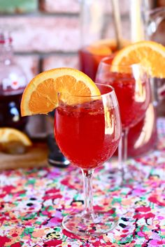 pomegranate sangria - @Caitlin Horan @Alexandra Fincher    looks different but i think i used a different wine than she did!