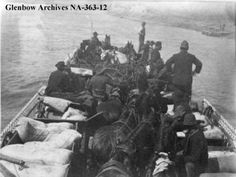 Horses and men on ferry crossing the North ... | saskhistoryonline.ca