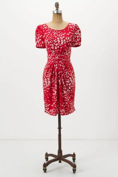 A fitted red dress / Sample source: Ruched Dragonfly Dress - Anthropologie.com