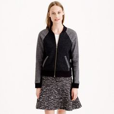 Leather trim mixed bomber jacket from J.Crew