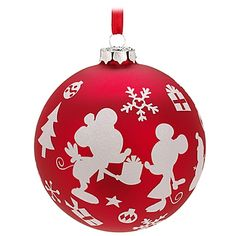 Ball Minnie and Mickey Mouse Ornament - CUTE! Red & White