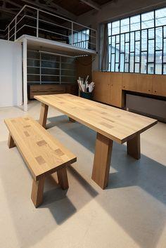 Tavolo e panca mod. Tetrix - in legno massello di rovere