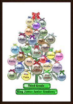Personalised Class List Christmas Teacher Gift | Etsy Christmas Card For Teacher, Class Christmas Gifts, Christmas Tree Printable, Christmas Doodles, Teacher Cards, Christmas Tree Cards, Christmas Activities, Xmas Cards, Christmas Art