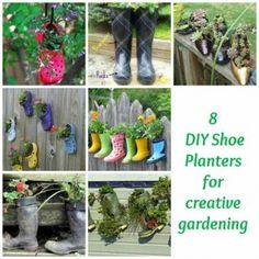8 formas de artesanato de jardim com sapatos