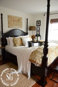FALL IN THE GUEST BEDROOM-lots of bedding-stonegableblog.com
