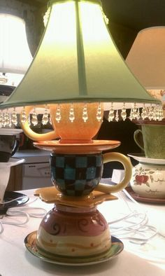 Whimisical Tea Cup Lamp Dr Suess like. $35.00, via Etsy.