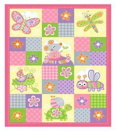 Nursery Fabric- Enchanted Garden Pink Panel