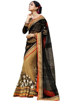 #Black And #Beige #Net And #Georgette #Saree With #Blouse   #Black And #Beige #Net And #Georgette #Saree #designed with #Heavy #Zari,Resham #Embroidery With #Stone #Work And #Lace Border.  INR: 6,826.00  With Exclusive Discounts   Grab:http://tinyurl.com/goekt33