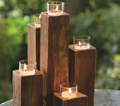 10 DIY Wooden Candle Holders To Add Rustic Charm This Fall DIY Wooden candle holders are an excellent way to show off your home decor. For years, candleholders have been utilized as the main centerpiece in homes. Scrap Wood Projects, Woodworking Projects, 4x4 Wood Crafts, Decoration Evenementielle, Decorations, Deco Nature, Wooden Candle Holders, Wooden Tea Light Holder, Cheap Candle Holders