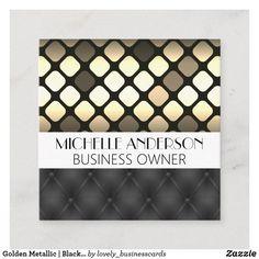 Golden Metallic   Black Upholstered Padding Square Business Card