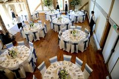 The reception tables from Anna and Ben's #Bijourealwedding at Cain Manor in Surrey