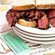 Katz's Deli. Chef Wylie Dufresne goes for a corned beef sandwich and a Cel-Ray soda.