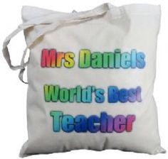 PERSONALISED - WORLD'S BEST TEACHER  - COTTON SHOULDER BAG - tote, gift, tutor - RAINBOW DESIGN
