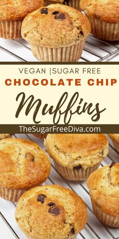 This breakfast idea is also great for brunch, lunch, snacks, or even for holiday gathering! A healthier way to make delicious muffins any time of the year! YUMMY Recipe for Homemade diy muffins that are sugar free and made with bananas. Sugar Free Vegan, Sugar Free Recipes, Sweets Recipes, Muffin Recipes, Baking Recipes, Sugar Free Chocolate Chips, Banana Chocolate Chip Muffins, Yummy Treats, Yummy Food