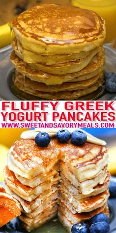 Fluffy Greek Yogurt Pancakes - Sweet and Savory Meals Greek Yogurt Pancakes are fluffy and filling, they make you want to eat breakfast all day long! Serve them topped with fresh fruits and maple syrup! Pancake Recipe With Yogurt, Greek Yogurt Pancakes, Best Pancake Recipe, Desserts With Greek Yogurt, Recipes With Greek Yogurt, Low Fat Pancakes, Greek Yogurt Recipes Breakfast, Baking With Yogurt, Skinny Pancakes
