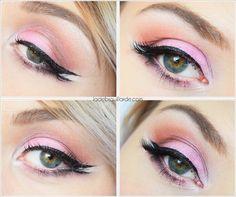 tuto make up double liner  Maquillage rose, eye liner, doux, smoky  #makeup #smoky #eye #eyeshadow #eyeliner #artistique #tutoriel #maquillage #tuto #diy #inspiration