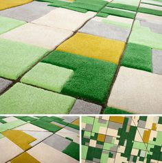 farm style green rug  3D Farmville Carpet: Colorful Wool Cut into Aerial Area Rugs  Somewhere between simple shag carpeting and ornate oriental rugs lie these curious creations that look like abstract modern art at first glance – until you realize each puzzle piece fits together like classic farm plots viewed from the air.