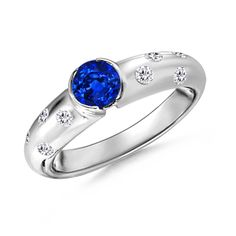 Angara Triple Shank Cushion Sapphire Ring in Two Tone CZzv8