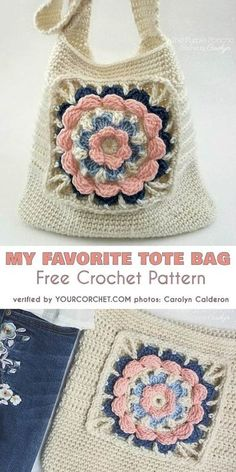 My Favorite Tote Bag Free Crochet Pattern: Today I would like to introduce this . My Favorite Tote Bag Free Crochet Pattern: Today I would like to introduce this pretty tote bag whi Crochet Market Bag, Crochet Tote, Crochet Handbags, Crochet Purses, Free Crochet Bag, Blanket Crochet, Sac Granny Square, Point Granny Au Crochet, Granny Squares