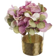 Paper Whites Pink Hydrangea in Honeycomb Glass ($27) ❤ liked on Polyvore featuring home, home decor, floral decor, decor, flowers, filler, pink, pink silk flowers, floral arrangement and pink fake flowers