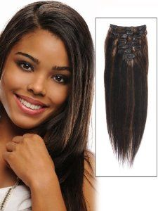 abHair Cheap Real African American Short Clip In Remy Human Hair Extensions 14 inch Black/Russet 7 Piece 60g Straight Yaki for Women Beauty