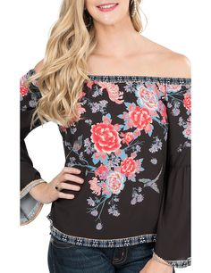 Flying Tomato Women's Black with Floral Print Long Bell Sleeve Fashion Top | Cavender's