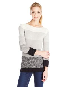 ExOfficio Women's Cafenista Ombre Boatneck, Cement, Small. Ribbed detail on hem and cuffs.