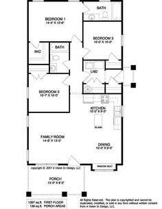 floor plan // 1097 sf 3b2b laundry near bedrooms