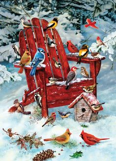 Adirondack Birds: Adirondack Birds is a 1000 piece jigsaw puzzle from Cobble Hill. Puzzle measures x when complete. It features a winter scene of birds such a bluejays and cardinals gathering together to eat from a birdfeeder. Christmas Collage, Christmas Bird, Christmas Scenes, Christmas Paintings, Vintage Christmas Cards, Christmas Pictures, Christmas Eve, Christmas Markets, Christmas Coffee