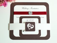 Double layered wedding invitation and RSVP, Wedding Invitations, Brown and Ivory Wedding Invitations, Wedding Invitation with Ribbon by KraziCrochet on Etsy