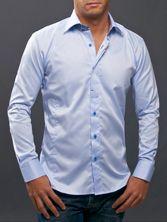 Blue Shirt Hidden Buttonhole Patterned Collar Elbow Patches #French #Shirts #FrenchShirts #French Shirts $84.90