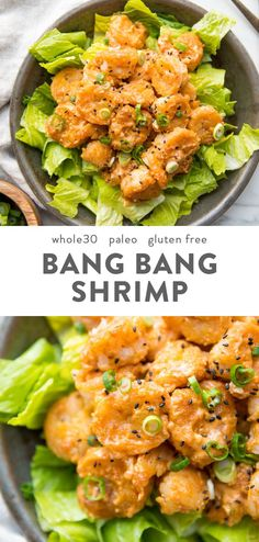 These bang bang shrimp are crispy tender spicy and creamy They make a fantastic dinner recipe and are paleo gluten-free grain-free refined-sugar-free and nut-free Tossed in a sriracha-spiked creamy sauce these bang bang shrimp are s Great Dinner Recipes, Whole30 Dinner Recipes, Clean Eating Recipes For Dinner, Whole Food Recipes, Sugar Free Recipes Dinner, Whole30 Shrimp Recipes, Keto Dinner, Fish Dinner, Dinner Ideas