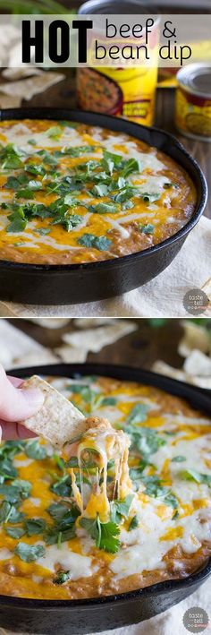 Need an appetizer perfect for watching that sporting event or for a family get-together?  This Hot Beef and Bean Dip takes your typical bean dip up a notch for an addicting, family friendly dip.:
