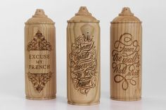 In collaboration with Street Artist ZICS, Malet Thibaut created this decorative spray cans using locally sourced cherry wood and the laser typography skills of the London based street art engraving machine. Graphic Design Letters, Lettering Design, Aerosoles, Typography Served, Spray Can, Hand Type, Art Archive, Layout Inspiration, Street Artists