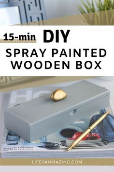 Spray-painting is one of the easiest ways to spruce up an item. Take a plain wooden box, spray paint and a stone and create a chic storage box for your jewelry or desk supplies in minutes. Check the easy DIY tutorial in the post. Plain Wooden Boxes, Painted Wooden Boxes, Diy Spray Paint, Spray Painting, Upcycled Home Decor, Diy Home Decor, Desk Supplies, Diy Tutorial, Easy Diy