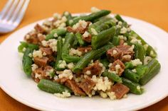 Holiday Ham and Green Beans, topped with baked Millet!