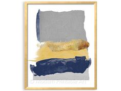 Navy Blue and Grey Modern Art: this listing is PRINTABLE FILE of an abstract composition in navy blue, gray, mustard yellow and gold