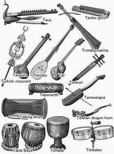 World musical instruments :   Tabla Baya/Talking drum/Tanpura/Tar/Tarawangsa/Taus/Teponaztli/Theorbo/Tibetan dragon horn/Timbales/Tombak/Tonkori/Tromba marina/Turkish crescent