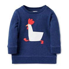 100% Cotton French Terry Sweater. Features chicken placement print on front. Has ribbed cuffs, neck and hem. Regular fitting silhouette with snaps on baby's left shoulder for easy dressing. Available in Indigo Marle.