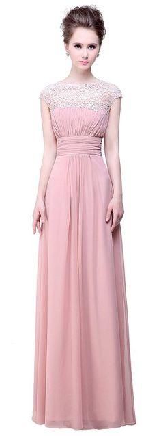 Bislu Cap Sleeve Lace Neckline Prom Evening Gown Bridesmaid Dress Blush 4