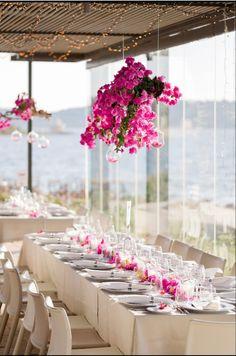 #reception #centerpieces #bougainvillea #kefaloniawedding #destinationweddings Greek Wedding, Our Wedding Day, Wedding Reception, My Wedding Planner, Destination Wedding, Bougainvillea, Event Styling, Amazing Flowers, Fairy Lights