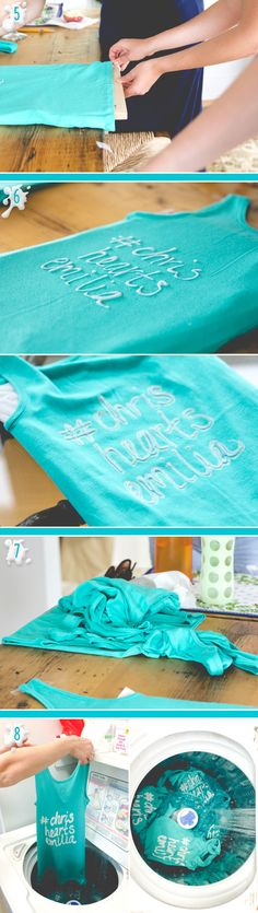 DIY Bleach Pen Tank Tops steps 5-8