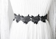 Black Silver Sash Belt Flower Lace Sash Belt - Wedding Sash Belt Bridal Sash Belt - Wedding Dress Sashes Belts