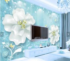 Us 999 50 Off Embossed Flower Hd Photo Wallpaper Mural For Living Room Sofa Tv Background Wall Decor Papier Peint Custom Any Size In Tree Wall Murals, Mural Wall Art, Tv Wall Design, Ceiling Design, Ceiling Ideas, Photo Wallpaper, Wall Wallpaper, Tv Wall Decor, Room Decor
