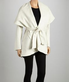 Take a look at this Oatmeal Tie-Waist Shawl Collar Coat by G.E.T. on #zulily today!