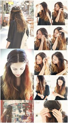 cute braided crown hairstyles. Love everything except the part down the middle