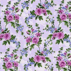 Beverly Park Lavender Roses and Violets Yardage SKU# Vintage Flowers, Floral Flowers, Florals, Paper Design, Fabric Design, Roses And Violets, Beverly Park, Crochet Hook Set, Lavender Roses