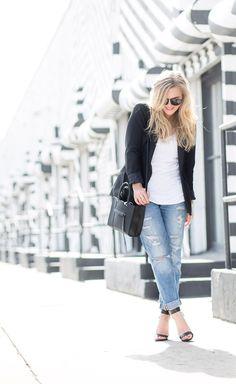 Slik Lapel Blazer + Boyfriend Jeans